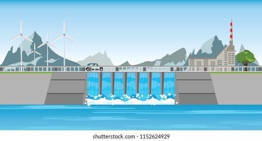 The dam and windmills between mountains and water rushing through gates at a dam, vector illustration.