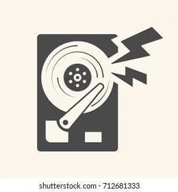 Damage the data, Hard disk scratch icon. Vector design