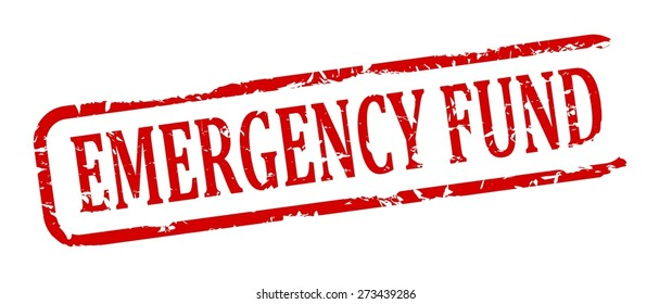 Damage to red oval stamp with the words - emergency fund - vector