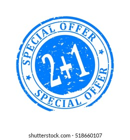 Damaged blue round stamp with the inscription - Special Offer 2 + 1 - Vector