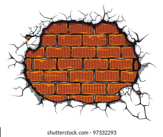 Damaged brickwall in cartoon style for design. Jpeg version also available in gallery