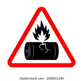 damaged broken battery with fire hazard sign. Disposal of flammable batteries. Isolated vector on white background