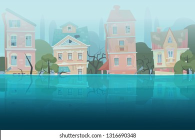 Damaged by natural disaster flood houses and trees partially submerged in the water in cartoon city concept. Storm city landscape vector illustration.