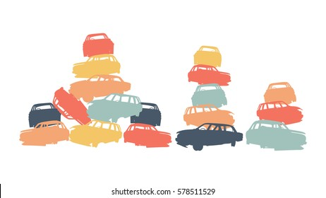Damaged car pile in wrecking yard colorful vector background isolated on white