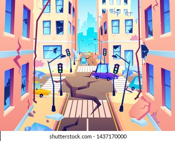 Damaged city street. Earthquake damage, cataclysm damages road destruction and destroyed urban crossroad. Apocalypse town, war disaster or car destroy earthquake. World end cartoon vector illustration