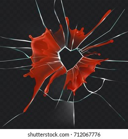 Damaged and cracked glass with hole in shape of heart in center, dripping blood splash realistic vector illustration on transparent background. Broken heart, break in relations