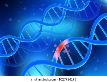 damaged DNA spirals, disease or disorders, destruction of the body, old age, injury molecules, treatment at the gene level, drugs for genetic damage. Vector illustration, 3d, mesh