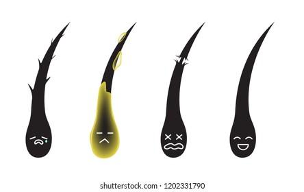 damaged dry oily and healthy hair cartoon vector