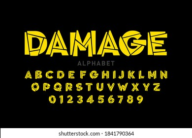 Damaged font, alphabet letters and numbers vector illustration