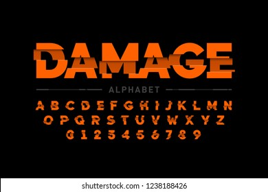 Damaged font design, alphabet letters and numbers vector illustration