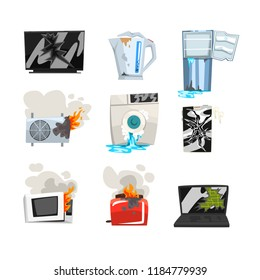 Damaged home appliance set, broken TV, kettle, refrigerator, air conditioner, washing machine, microwave oven, toaster, laptop, smartphone cartoon vector Illustrations on a white background