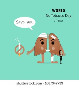 Damaged Lung cartoon character and Stop Smoking vector design .Concept of bruised ,hurt Lung.May 31st World No Tobacco Day concept.No Smoking Day.No Tobacco Day Awareness Campaign.Vector illustration.