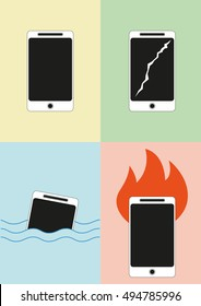 Damaged mobile phone icons. Vector illustration
