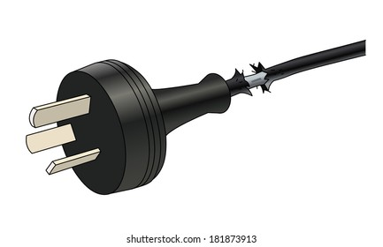 Damaged power cable. Isolated vector illustration.