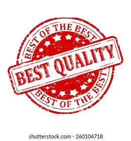 Damaged round red stamp with the word - the best quality, the best of the best -vector