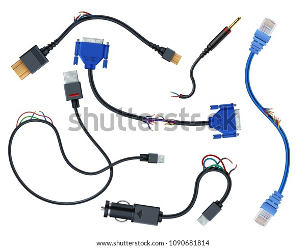 Damaged Wires Plugs Disconnect Broken Electric Stock Vector Royalty Free 1090681814