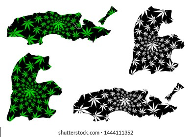 Daman and Diu (union territories of India, Federated states, Republic of India) map is designed cannabis leaf green and black, Daman and Diu map made of marijuana (marihuana,THC) foliage