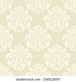 Damascus. Floral light seamless Wallpaper. Vintage ornament in vector, Baroque.