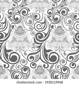 Damascus seamless grey pattern on white background.