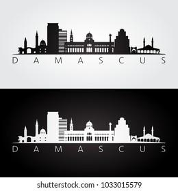 Damascus skyline and landmarks silhouette, black and white design, vector illustration.
