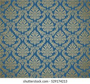 Damask background dark blue and gold/ Editable Eps10.