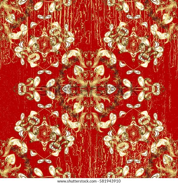 Damask background. Golden floral wallpaper. Gold red floral ornament in baroque style. Pattern. Golden element on red background.