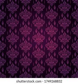 Damask Dark Purple Background Wallpaper With Texture Pattern