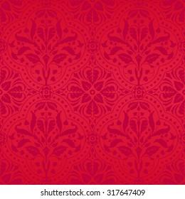 damask dark red flowers seamless pattern