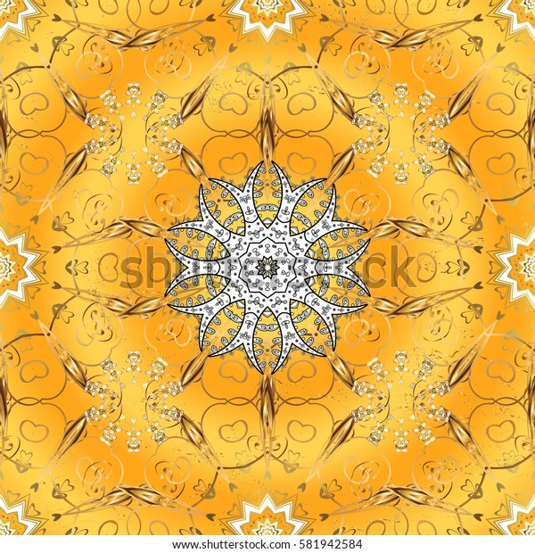 Damask for design. Vector on yellow background with golden elements and with white doodles. Vector illustration.