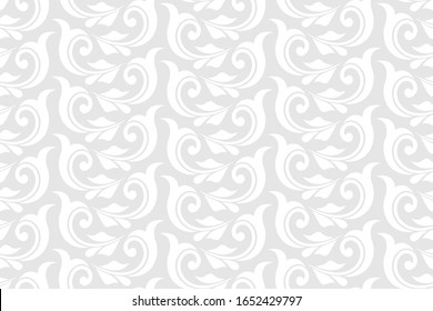 Damask floral design element. Gray and white. Graphic ornament royal wallpaper vector background.