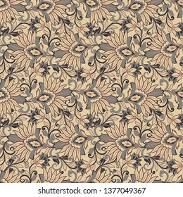 Damask floral pattern for decoration design. Elegance vintage arabesque ethnic background.