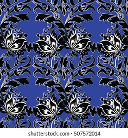 Damask floral vector seamless pattern background wallpaper illustration with 3d vintage decorative elegant modern 3d flowers, leaves and ornaments in renaissance style