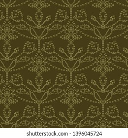 Damask flower motif sashiko pattern. Victorian needlework seamless vector background. Hand drawn running  stitch print. Classic old antique embroidery, lace home decor, quilted textiles sew template.