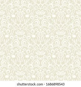 Damask flower pattern in vector light background. Imperial ornament, Wallpaper in the Rococo style