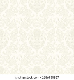 Damask flower pattern in vector light background. Imperial ornament, Rococo Wallpaper