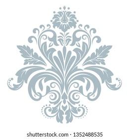 Damask graphic ornament. Floral design element. Blue vector pattern