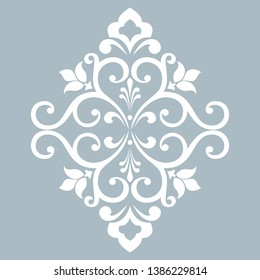 Damask graphic ornament. Floral design element. Blue vector pattern