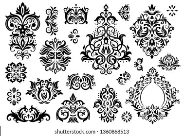 Damask ornament. Vintage floral sprigs pattern, baroque ornaments and victorian decor ornamental patterns. Antique ornament borders, rococo ornate or arabesque. Isolated vector illustration sign set