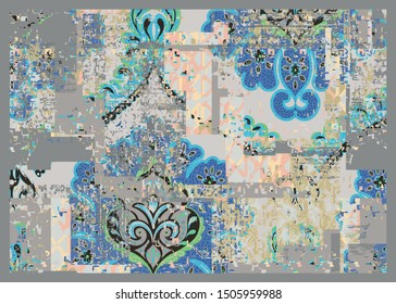 damask, ottoman,  floral, tile, geometric motifs, ethnic shapes, mixed on grunge gray background . antique effect trendy modern carpet, rug, flooring pattern design