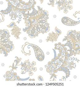 Damask paisley seamless vector pattern. Floral vintage background
