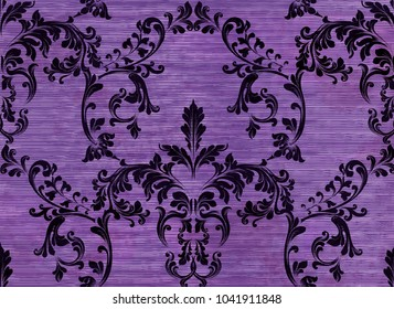 Damask pattern ornament decor Vector. Baroque fabric texture illustration designs