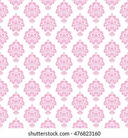 Damask pattern seamless. Vintage floral background vector illustration. Pink  and white. vintage seamless pattern. textile pattern