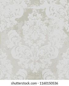 Damask pattern Vector. Vintage baroque ornament decor. Royal luxury texture backgrounds. Victorian sumptuous decoration textile, fabric, tile. Gray colors