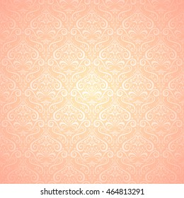 Damask pink pattern. Classic style. Pink and beige. Vintage background.