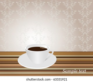 Damask seamless background and cup of coffee. vector Illustration