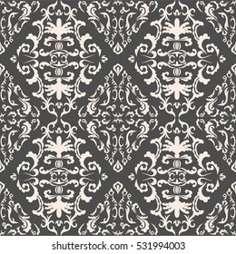 Damask seamless classic pattern. Vintage Baroque delicate vector background. Classic damask ornament for wallpapers, textile, fabric, wrapping, wedding invitation. Exquisite floral baroque template..