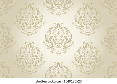 Damask seamless floral ornament on background. Floral ornament on background. Elegant texture for wallpapers and backgrounds. Wallpaper pattern. Vector illustration