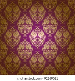 Damask seamless floral pattern. Flowers on a purple background. EPS 10