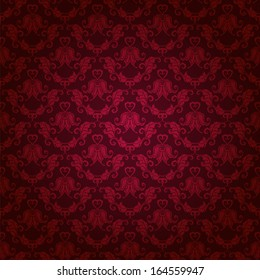 Damask seamless floral pattern. Royal wallpaper. Floral ornaments on a red background. Vector illustration EPS10.