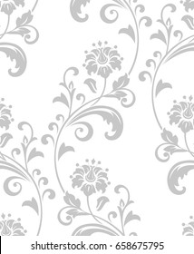 Damask seamless floral pattern. Royal wallpaper. Grey flowers on a white background. Graphic vector modern pattern.